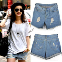 Shorts Women Capris 2014 New Retro Women High Waist Ripped Flange jeans Girls Hole Wash White Jeans Denim Shorts free shipping SV000480 K#