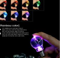 Wholesale Bulb necklace bulb keychain LED Flashlight Light Bulb Key Ring Keychain Lamp Torch rainbow color