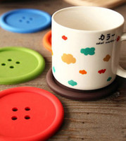 Wholesale Sweet Silicone Cup - Free shipping 18PCS Sweet Candy Colors Button Design Coffee Cup PAD MAT Round Protective Tea Coffee Cup Coaster Cup Mat Pad - Diameter 8.7Cm