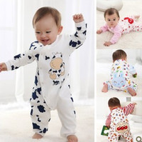 Wholesale 2015 Spring Summer Newborn Baby Infant Cartoon Rompers One Piece Siamese Cotton Long Sleeve bodysuits Boys Girls Climbing Clothes Y