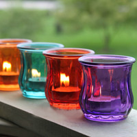 Wholesale Romantic Color Glass Candle Holder Creative Tealight Candle Cup Party Supplies SH291