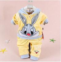Unisex Spring / Autumn Long Cartoon rabbit velvet hoodies set baby set kids' long sleeve hoodie+pant set children's clothing