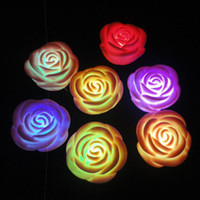 Wholesale 7 colors Romantic Color changing Rose Light LED Flash Light Love Atmosphere Lights free shiping
