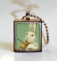 american violin - White Rabbit Necklace Bunny Playing Violin Scrabble Tile Pendant with Ball Chain Included scrabble tile necklace jewelry