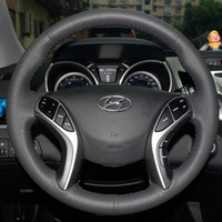Wholesale Steering Wheel Cover For Hyundai Elantra Hyundai Avante I30 XuJi Car Special Hand stitched Black Genuine Leather Covers