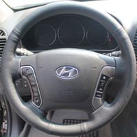 Wholesale Steering Wheel Cover For Hyundai Santa Fe XuJi Car Special Hand stitched Black Genuine Leather Wheel Covers