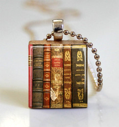 Wholesale 1pc Old Books Scrabble Tile Pendant Ball Chain Necklace Included scrabble tile necklace jewelry