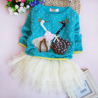 TuTu Summer Pleated 2014 New Sweet Autumn baby girl TUTU dress Swan style skirt jumper dress Kids long sleeve One piece dress 3pcs