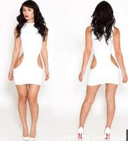 Wholesale Women s White Sexy Club Dress Hollowed Night Party Dresses Sleeveless Pencil Mini Body Con Dresses Bandage Causal Dresses