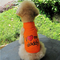 Coats, Jackets & Outerwears Fall/Winter Chirstmas Emours Small Pet Dog Cat I LOVE MOMMY DADDY T-shirt Polo Tank Top Orange Blue Pink XS S M L XL XXL