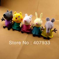 Girls 0-12 Months Gray 5pcs hot sell New item 2014 peppa pig friends plush toys 5styles Animal Dog cat sheep rabbit elephant doll gift