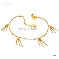 Wholesale NEW ARRIVAL K GOLD ANKLET WEDDING BRIDAL JEWELRY K BELLS CHAIN ANKLET J719