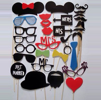 Wholesale Set of Paper Mustache On A Stick Wedding Photo Booth Props Photobooth Funny Party Masks Bridesmaid wd202