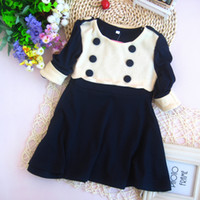 Wholesale Factory Direct Girl dress Double Breasted Flower dress long sleeve A dress Cute children s clothing button nice dress