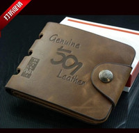 Wholesale Buckles decoration NEW special package authentic leather wallet fashion Korean style Men s purse Brief short paragraph leather cowhid