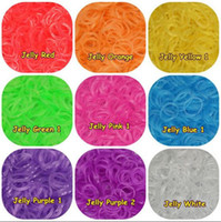 Wholesale Refill Rubber Bands w Clips Jelly Colors for Rainbow DIY Loom Bands Clip