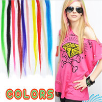 Wholesale New quot Solid Color Snythetic Clip On In Hair Party Highlights Extensions Straight Hair piece