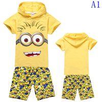 pajama - cartoon Minions printed cotton boys piece outfits short sleeve hoodie T shirt shorts set summer children pajama kids sleepwear styles