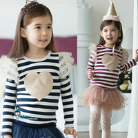 Girl garden furniture - 2015 Garden Table Patio Furniture Set New Girls Clothing Sets Girl Dress Baby Suit Stripes Two Colors T shirt Rose Skirt Suits Spring Gc013