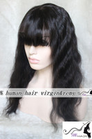 Wholesale UPS DHL Free Lovely for women girls body Wave With full bangs wig b lace front wigs Unprocessed Chinese Human Hair Wigs