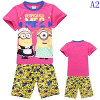 Boy Summer 95 100 110 120 130 140 Summer children pajamas cartoon Minions printed short sleeve T-shirt&Shorts set boys outfits Cotton baby sleepwear suits 8 styles