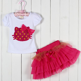Wholesale 2014 New Baby Girl Suits T shirt Skirt Summer KT Cat Sets Top T shirt And Tutu Outfits Kids Suits Children Clothing Suits ZJ GDLZ T0101