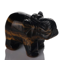 Wholesale 1 quot Tiger eye Elephant stone carved Crafts Figurine healing reiki free pouch
