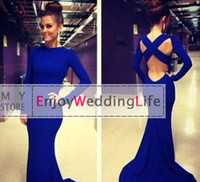 Wholesale 2014 Sexy New Royal Blue Long Sleeves Jersey Mermaid Prom Dresses Floor Length Backless Evening Gowns BO4956