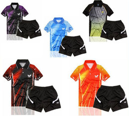 Wholesale New Summer Butterfly Table Tennis Competition clothing short sleeved tennis clothing Men s Polo Shirts set quick drying