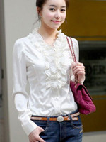 Casual Women Silk Attractive Beige Ruffled V-Neck Long Sleeves Imitated Silk Shirt mens shirts r31 #u12-boQ