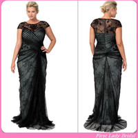 Reference Images Sheer Neck  Lace 2014 Fashion Black Lace Plus Size Evening Dresses Cap Sleeves Sheer Neck Sheath Floor Length Prom Gown Mother Of The Bride Dress