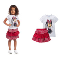 Girl Spring / Autumn Short In stock! 2014 Retail Fashion Girls Summer Set Minnie Mouse Cute Style Top T-shirt +Skirt , Free Shipping