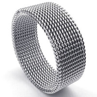 asian screen - Fashion Jewelry mm Flexible Stainless Steel Screen Mens Womens Ring Woven Mesh Band Silver US Size to Drop