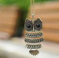 Wholesale Vintage Retro Promotion retro owl long necklace sweater chain owls necklace