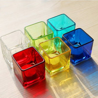 Christmas lighted cup holder - Colorful Glass Candle Cup Votive Square Tea Light Holder Valentine Cute Candle Holder Base Wedding Decoration SH292