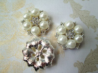 Wholesale Hair accessories mm Pearl Rhinestone Buttons for DIY headband