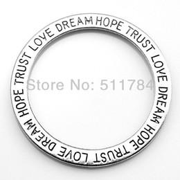 "60pcs lot 35mm 2 colors message ""love dream hope trust"" circle charms"
