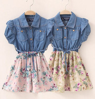 short dress with jeans - 2014 New Summer baby girls denim jeans tutu dress girls big flower bow tutu skirt denim dresses with belt girls chiffon denim dressess Melee