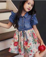 short dress with jeans - Fedex Ship New Summer baby girls chiffon denim jeans tutu dress girls big flower bow tutu skirt denim dresses with belt