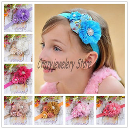 Newborn Shabby Flower Headbands With Pearl Diamond Kids Elastic Headband Hair Accessories Infant Rose Flower Pearl Hairbands Girl Headwear