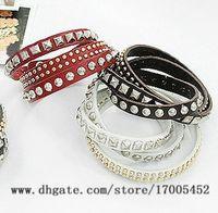 Other acrylic pressure - Leather strap Pressure claw rivet bracelet Vintage men Three times multi bracelet Valentine s Day v247