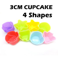 Wholesale 4Packs Pack CM Silicone Tree Rose Heart Star Shape Cake Mold Cupcake Mold Baking Mould Bakeware