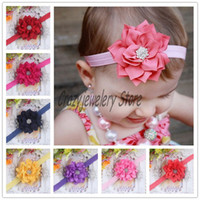 Headbands Cotton Floral Newborn Polygonal cloth flower Headbands With Drill Kids Elastic Headband Hair Accessories Infant Drill Diamond Hairbands Girl Headwear Hot