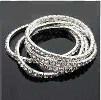 crystal stretch bracelet - 2014 Rhinestone Crystal Silver Stretch Tennis Wedding Chain Bracelets Women s bracelet lo lt lt thgsw