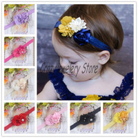 Headbands Cotton Floral Newborn Rose flower Headbands With Pearl Kids Elastic Headband Hair Accessories Handmade Infant Chiffon Flower Hairbands Girl Headwear 10pcs