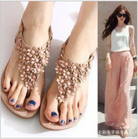 Wholesale 668 New Arrival Sweaty Women Flower lady Flat Sandals With Flower On Top Beading Strip Shoes