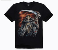 Wholesale NEW Hot Sale Fashion Men s D T shirt Skeleton Reaper s Scythe pattern Mens Rock T shirt cotton round colla Men s fashion t shirt DX27