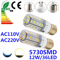 Corn SMD 12W Free shipping 1pcs lot 5730SMD 36LED 12W E27 E14 B22 G9 GU10 110V 220V Corn Bulb Light Lamp LED Lighting White Warm White Glass Cover