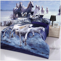 100% Cotton Adult Yes Brand New white Horse oil printing bedding set 3d cotton Duvet quilt cover king queen full size Luxury animal Bed linen sets