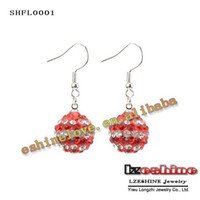 Wholesale Christmas Hot Sale mm AB Clay Circle Crystal Ball Fashion Shamballa Earrings Mix Colors Options SHFLmix1